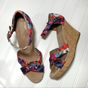 Toms Oahu Floral Strappy Cork & Canvas Wedges